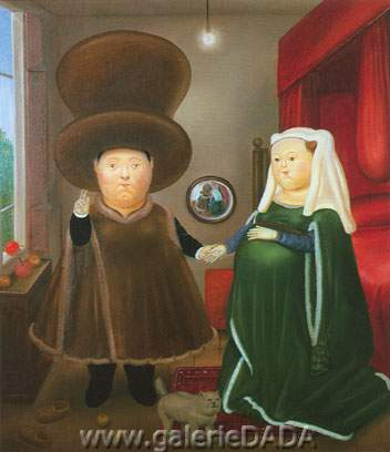 Fernando Botero, The Arnolofini Marriage Fine Art Reproduction Oil Painting