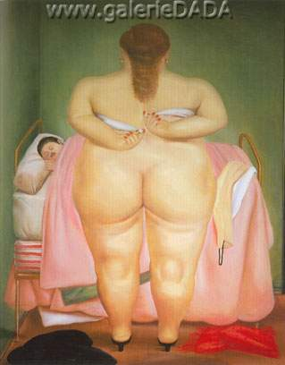 Fernando Botero, Woman Putting on Her Brassiere Fine Art Reproduction Oil Painting