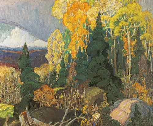 Franklin Carmichael, Autumn Hillside Fine Art Reproduction Oil Painting