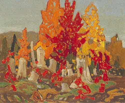 Franklin Carmichael, Red Maples Fine Art Reproduction Oil Painting