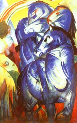 Franz Marc, A Tower of Blue Horses Fine Art Reproduction Oil Painting