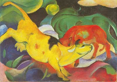 Franz Marc, Cows, Yellow, Red,  Green Fine Art Reproduction Oil Painting