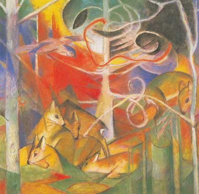 Franz Marc, Deer in the Forest Fine Art Reproduction Oil Painting
