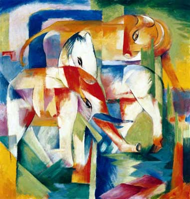 Franz Marc, Elepant,Horse, Cattle, Winter Fine Art Reproduction Oil Painting