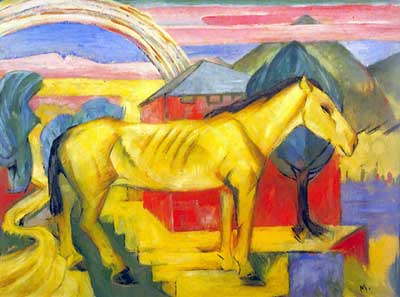 Franz Marc, Large Yellow Horse Fine Art Reproduction Oil Painting