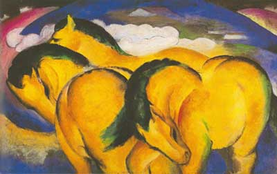 Franz Marc, The Little Yellow Horses Fine Art Reproduction Oil Painting