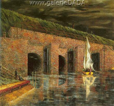 Franz Radziwill, Floodgate near Petershorn Fine Art Reproduction Oil Painting