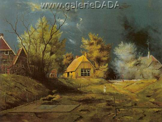 Franz Radziwill, Landscape with Artists House Fine Art Reproduction Oil Painting