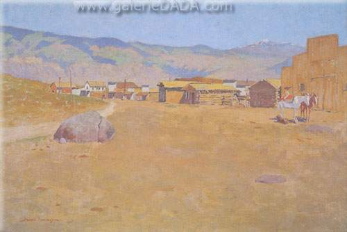 Frederic Remington, A Mining Town Wyoming Fine Art Reproduction Oil Painting