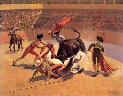 Frederic Remington, Bull Fight in Mexico Fine Art Reproduction Oil Painting