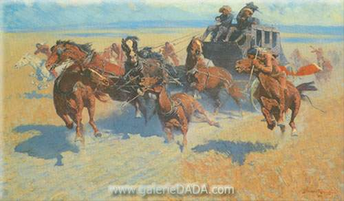 Frederic Remington, Downing the Nigh Leader Fine Art Reproduction Oil Painting