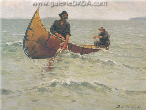 Frederic Remington, Hauling the Net Fine Art Reproduction Oil Painting