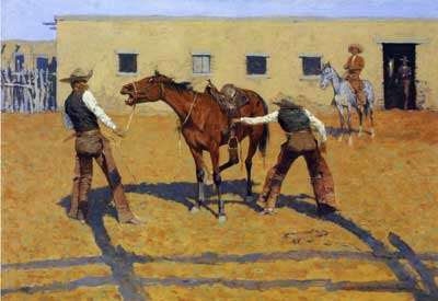Frederic Remington, His Ffrst Lesson Fine Art Reproduction Oil Painting