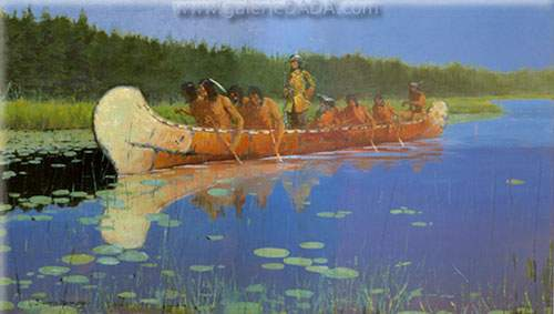 Frederic Remington, Radisson and Groseilliers Fine Art Reproduction Oil Painting