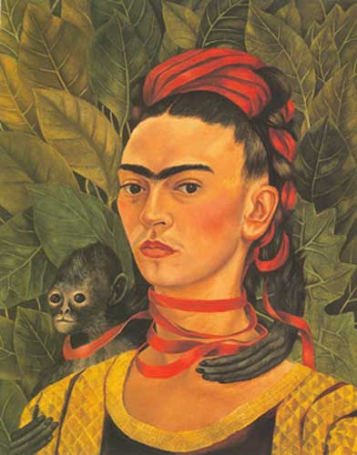 Frida Kahlo, Self-Portrait with Monkey Fine Art Reproduction Oil Painting