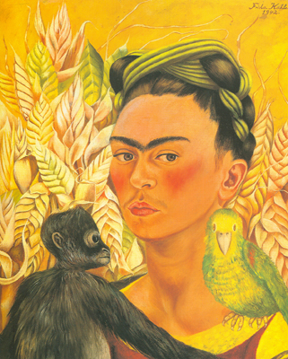 Frida Kahlo, Self-Portrait with Monkey and Parrot Fine Art Reproduction Oil Painting