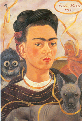 Frida Kahlo, Self-Portrait with Small Monkeys Fine Art Reproduction Oil Painting
