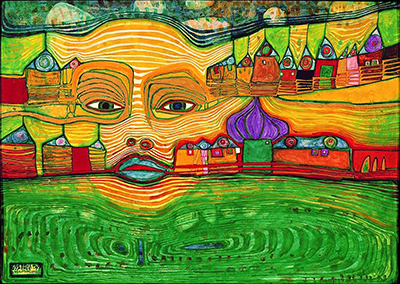 Friedensreich Hundertwasser, Irinaland over the Balkans Fine Art Reproduction Oil Painting