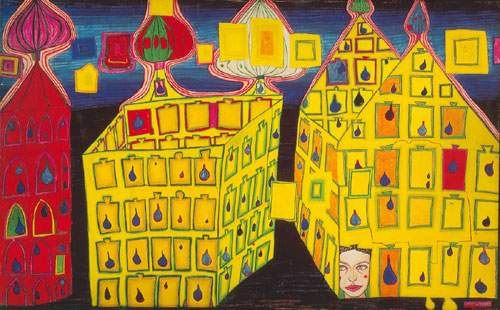 Friedensreich Hundertwasser, Yellow Houses Fine Art Reproduction Oil Painting