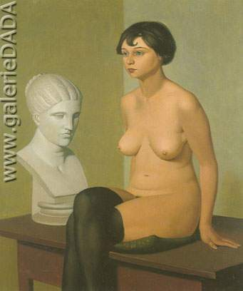 Georg Scholz, Seated Nude with Plaster Bust Fine Art Reproduction Oil Painting