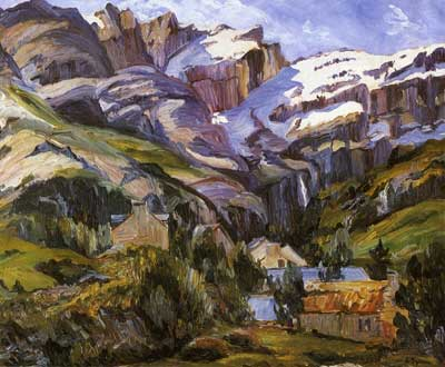 George Gardner Symons, Houses at the Base of Snow Capped Mountains Fine Art Reproduction Oil Painting