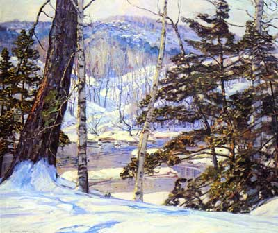 George Gardner Symons, River Bank with Snow Fine Art Reproduction Oil Painting