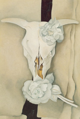 Georgia OKeeffe, Cows Skull with Calico Roses Fine Art Reproduction Oil Painting
