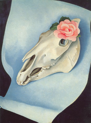 Georgia OKeeffe, Horses Skull with Pink Rose Fine Art Reproduction Oil Painting