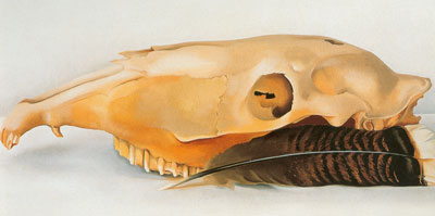 Georgia OKeeffe, Mules Skull with Feathers Fine Art Reproduction Oil Painting