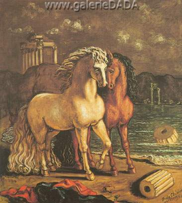 Georgio de Chirico, Divine Horses of Achilles Fine Art Reproduction Oil Painting