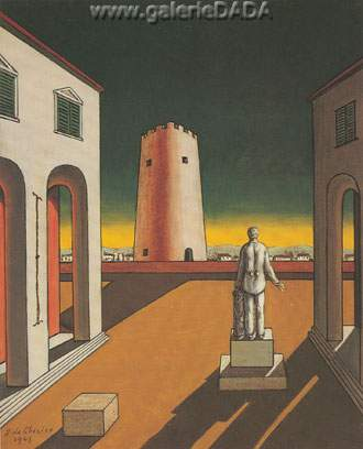 Georgio de Chirico, Italian Square with Red Tower Fine Art Reproduction Oil Painting