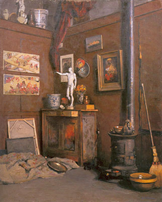Gustave Caillebotte, Interior of a Studio with a Stove Fine Art Reproduction Oil Painting