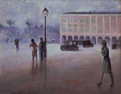 Guy Pene du Bois, Place Massena Fine Art Reproduction Oil Painting