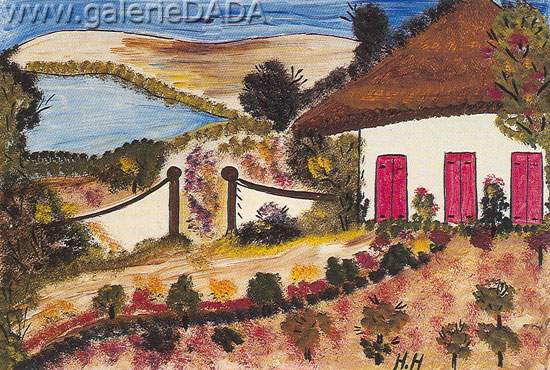 Hector Hyppolite, A House and Garden Fine Art Reproduction Oil Painting
