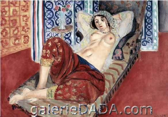 Henri Matisse, Odalisque in Red Clothes Fine Art Reproduction Oil Painting
