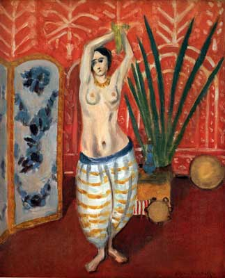 Henri Matisse, Odalisque with a Green Plant and Screen Fine Art Reproduction Oil Painting