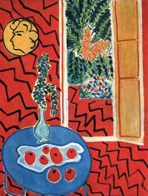 Henri Matisse, Red Interior, Still on a Blue Table Fine Art Reproduction Oil Painting