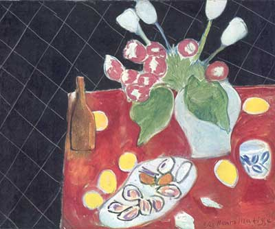 Henri Matisse, Tulips And Shellfish on a Dark Background Fine Art Reproduction Oil Painting