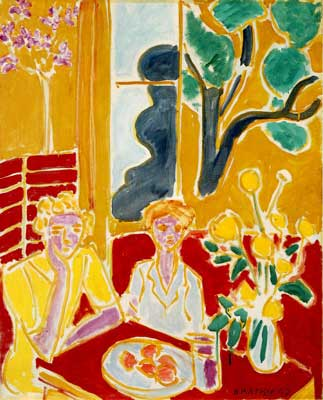 Henri Matisse, Two Girls in a Yellow and Red Interior Fine Art Reproduction Oil Painting