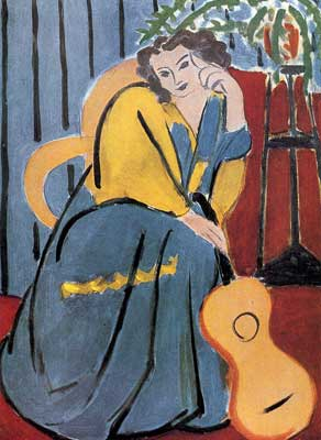 Woman in Yellow And Blue with a Guitar - Henri Henri, Fine Art Reproduction Oil Painting