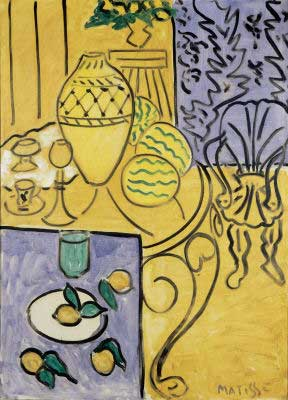 Henri Matisse, Yellow and Blue Interior Fine Art Reproduction Oil Painting