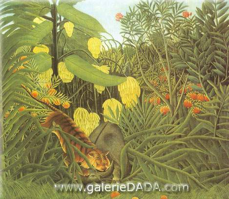 Henri Rousseau, Fight between a Tiger and a Buffalo Fine Art Reproduction Oil Painting