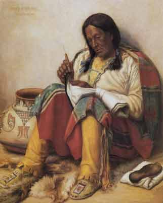 Henry Balink, Mending a Moccasin Fine Art Reproduction Oil Painting
