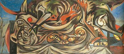 Jackson Pollock, (Composition with Donkey Head) Fine Art Reproduction Oil Painting