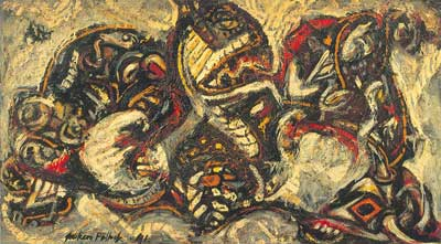 Jackson Pollock, Composition with Masked Forms Fine Art Reproduction Oil Painting