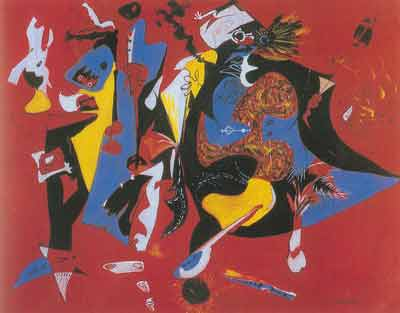 Jackson Pollock, Red and Blue Fine Art Reproduction Oil Painting