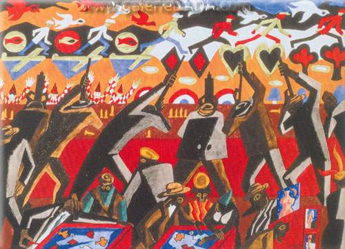 Jacob Lawrence, Shooting Gallery Fine Art Reproduction Oil Painting
