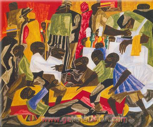 Jacob Lawrence, Summer Street Scene Fine Art Reproduction Oil Painting