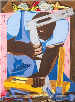 Jacob Lawrence, The Cabinet Maker Fine Art Reproduction Oil Painting