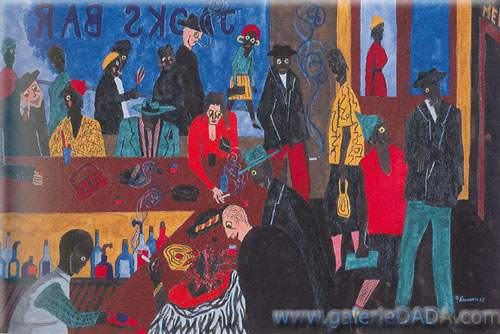 Jacob Lawrence, There Is an Average of Four Bars to Every Block Fine Art Reproduction Oil Painting